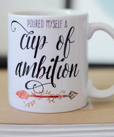 Cup of Ambition Coffee Mug Watercolor Arrow Mug by PrettyPlusPaper