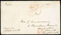 """Turks Islands. 1862 (19 Apr.) envelope to Kent, rated """"5"""" and showing a generally good strike of the Crowned Circle """"paid/at/turks-islands"""" handstamp a little overstruck at top with London Paid datestamp (14.5), despatch double-arc datestamp on reverse; two creases and two small faults clear of the handstamps. The latest recorded date of use of this rare handstamp. S.G. CC!, £5500. Photo (Estimate 1500 - 2000)"""