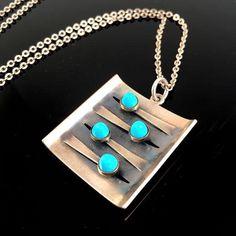 Elis Kauppi for Kupittaan Kulta (FI), vintage modernist sterling silver square-shaped pendant necklace with turquoise cabochons, 1966. #finland | finlandjewelry.com