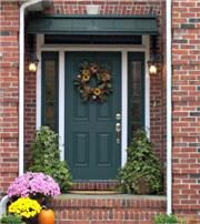 The Sherwood Green metal Concave Door Awning in Manchester, TN. Metal Door Awning, Front Door Awning, Porch Awning, Window Awnings, Front Doors, Copper House, Fabric Awning, House Trim, Metal Canopy