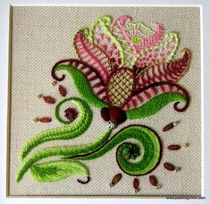 "Crewel embroidery ""Carol's Rose"", design Jessica M. Grimm, worked in Heathway Milano."