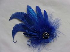 Royal Cobalt Blue Glitter Feather & Crystal Fascinator Hairclip £12.99