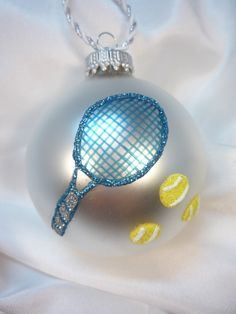 Personalized Tennis Racket Glass Ball Ornament by GlitterOrnaments