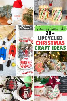 From gifts to decorations, this collection of over 20 easy DIY upcycled Christmas craft ideas will have you creating for the holidays on a budget! Includes ornaments, centerpieces, handmade gift ideas, inexpensive decor and more using household items and simple craft supplies! Christmas Crafts To Make, Modern Christmas, Homemade Christmas, All Things Christmas, Holiday Crafts, Winter Christmas, Christmas Decorations, Christmas Ornaments, Christmas Ideas