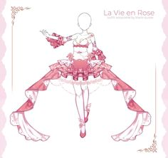 [closed] La Vie en Rose Outfit Adopt | Set Price by Black-Quose Fashion Design Drawings, Fashion Sketches, Anime Outfits, Cute Outfits, Clothing Sketches, Anime Dress, Drawing Clothes, Character Outfits, Lolita Dress