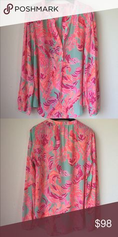 New Lilly Pulitzer Stacey top, love birds. New without tag in mint condition. No trade. Lilly Pulitzer Tops Blouses