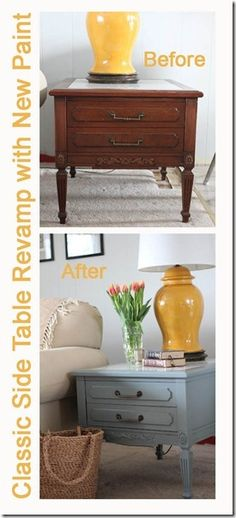 "Great ideas for nightstands. If you don't have matching ""his and her"", just refinish them to look the same."