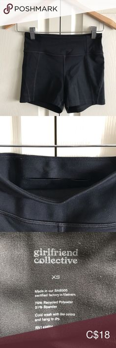 Black Girlfriend Collective High-Waisted Shorts Black high-waisted shorts/spanks by girlfriend collective. Barely worn. The fabric is extremely soft and stretchy. There is a small pocket at the back that would fit some cash, ID or a key.   I didn't end up wearing them as much as I expected, so I've decided to part with them. girlfriend collective Shorts