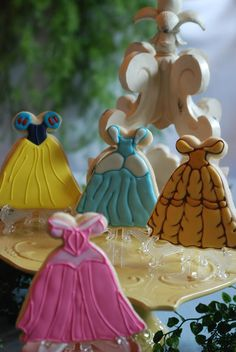 Sugar cookies inspired by princess dresses.