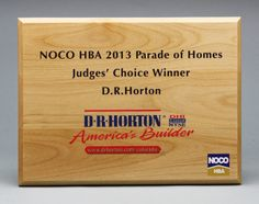 Offering Custom Wood Signs laser engraved any size for great prices! Cherry, Walnut, Maple, Alder Wood, red wood and more species. Award Display, Custom Wood Signs, Parade Of Homes, Price Quote, Bamboo Cutting Board, Awards, Unique, Award Certificates