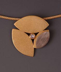 18k royal yellow gold & palladium white gold pendant with diamond on gold cable-Maria Samora