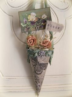 Victorian Paper Cone Vintage Spring Decor  Vintage Bird by QueenBe, $27.00