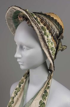 Mid-19th century - Bonnet - Straw trimmed with ribbon and black lace.