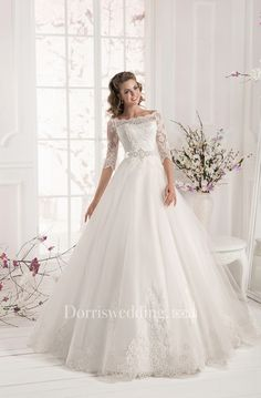 6f3a25e4d8 Bateau Neck Half Sleeve A-line Organza Wedding Dress With Lace Bodice