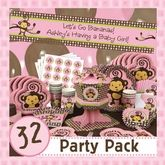 Monkey Girl - 32 Baby Shower Party Pack ~ Pink Baby Shower Ideas ~