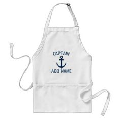 Personalized boat captain name anchor BBQ apron. Nautical barbecue accessories with navy blue anchor and custom name or monogram initial letters. Maritime Father's Day or Birthday gift idea for sailor men with vintage manly typography with ship anchor design. #Anchor #Nautical #Captain #FathersDay ad