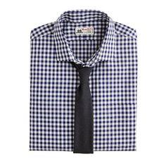 Thomas Mason® for J.Crew spread-collar dress shirt in dark navy gingham