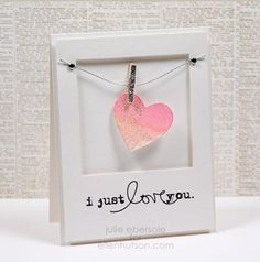 """adorable """"clothesline"""" featuring a watercolored heart - do 2 for a wedding or anniversary card?"""