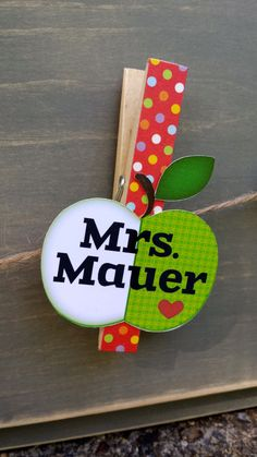 Personalized Teacher Clothespin Teacher Gift by owlpaperscissors, $2.50