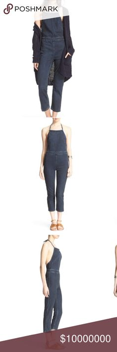 "COMING SOON! Free People Denim Overall An exposed back and a halter neckline put a sexy spin on a stretch-cotton jumpsuit styled with a figure-skimming fit and cool abbreviated hems. 52"" full length; 23"" inseam Ties behind neck, Sleeveless. Back patch pockets. 96% cotton, 3% polyester, 1% Lycra® spandex. Free People Pants Jumpsuits & Rompers"