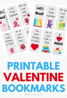 Grab these free printable Valentine bookmarks for kids to pass out in the classroom at their Valentine's Day class party. They're a great non-candy and non-mushy way to say Happy Valentine's Day to friends. Kinder Valentines, Valentines Day Memes, Valentines Day Activities, Homemade Valentines, Valentines Day Party, Valentine Day Crafts, Valentines Games, Valentine Treats, Printable Valentine Bookmarks