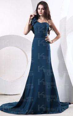 navy blue bridesmaid dress chifon floor length | Navy A-line One Shoulder Natural Waist Chiffon Floor length Bridesmaid ...