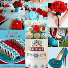 Turquoise and Red Wedding Colors.my wedding colors! Wedding Color Combinations, Wedding Color Schemes, Color Combos, Summer Wedding Colors, Purple Wedding, Wedding Turquoise, Wedding Colours, Teal Color Schemes, Creation Deco