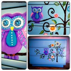I'm thinking light pink background, with a blue, purple, and hot pink owl. Leave out the flowers and just add more leaves. And maybe a crescent moon and a few stars in that empty top corner. Painted Chairs, Hand Painted Furniture, Repurposed Furniture, Kids Furniture, Owl Bedrooms, Underwater Room, Star Painting, Owl Nursery, Pink Owl