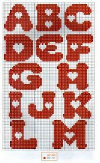 cute heart cross stitching alphabet