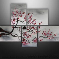 Abstract Modern Original Painting Asian Tree Birds Art by Gabriela 44x32 black white red