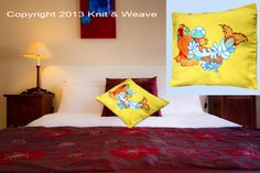 Cotton cushion covers. Hand painted fish.