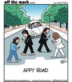 What if the four distracted Beatles never looked up during the Abbey Road album shoot? This cartoon presents a funny, modern-day interpretation of the iconic The Beatles Abbey Road album cover. Abbey Road, Pop Rock, Rock And Roll, Bibliotheque Design, Beatles Art, Beatles Lyrics, Beatles Photos, The Fab Four, Thoughts