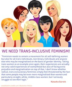 """Great article by Natasha Barrett on transphobic TERFs over at Huff Post Young Voices.   She writes:    """"The fact is, if you're going to follow the proper aims of feminism and by that I mean intersectionality (as much as many people love to claim this is not the right word), you need to be inclusive. A movement that aims to reduce exclusion, can't narrow down its permitted participants without becoming entirely contradictory.   Women of colour have different experiences of being a woman to…"""