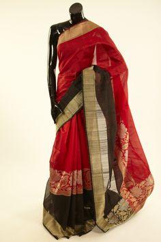 Banarsi- silk dark tomato red saree with blouse