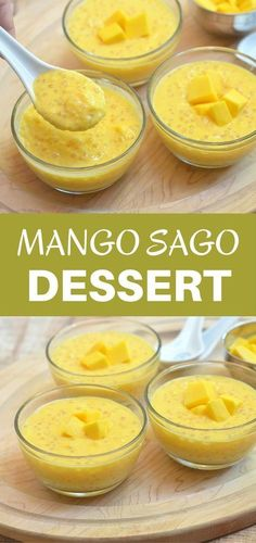 Mango Sago - Emily K. - Mango Sago Mango Sago made with mangoes, tapioca pearls, and milk. Sweet, tangy and creamy, it's a summer dessert you'd want all year long! Brownie Desserts, Oreo Dessert, Mini Desserts, Delicious Desserts, Yummy Food, Mango Dessert Recipes, Pinoy Dessert, Filipino Desserts, Asian Desserts