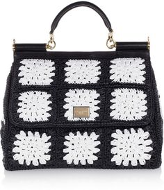 DOLCE & GABBANA  Black Miss Sicily Crocheted Tote