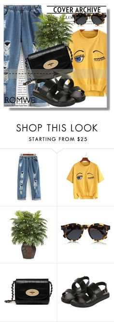 """Romwe !!"" by dianagrigoryan ❤ liked on Polyvore featuring Nearly Natural, Illesteva and Mulberry"