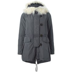 Moncler Vicomte Padded Parka (3,325 CAD) ❤ liked on Polyvore featuring outerwear, coats, grey, parka coat, fur parka, grey coat, padded parka and grey fur coat