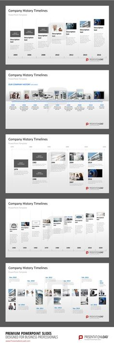 Company History Milestones in a Timeline PowerPoint Template #presentationload www.presentationl...