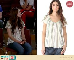 Marley's white striped tee with patterned sleeves on Glee.  Outfit details: http://wornontv.net/14469/