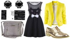 Black dress, yellow blazer, gold shoes, black earrings, patterned tights, grey bag