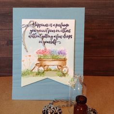Art Impressions Rubber Stamps: Wonderful Watercolor: handmade card wtih wagon, flowers, foliage, grass