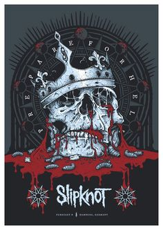 This brilliant Slipknot Skull print was created by Keepsake Design and is the Official screenprinted poster for Slipknot's performance in Hamburg Arte Heavy Metal, Nu Metal, Heavy Metal Music, Heavy Metal Bands, Music Artwork, Metal Artwork, Rock Band Posters, Rock Band Logos, Rock Y Metal