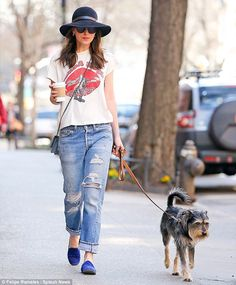 Taking it easy: Dakota Johnson enjoyed a leisurely day in New York with her pet pooch Zeppelin on Sunday