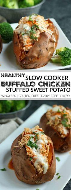 Slow Cooker Buffalo Chicken | slow cooker sweet potatoes | slow cooker dinners | slow cooker recipes | healthy slow cooker meals | whole30 slow cooker recipes | whole30 dinners | gluten-free slow cooker recipes | gluten-free dinners | dairy-free slow cooker recipes | dairy-free dinners | paleo slow cooker recipes | paleo dinners || The Real Food Dietitians #whole30dinners #chickenrecipeshealthypaleo #chickenfoodrecipes