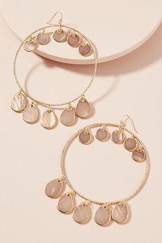 Slide View: 1: Seashell Hoop Earrings