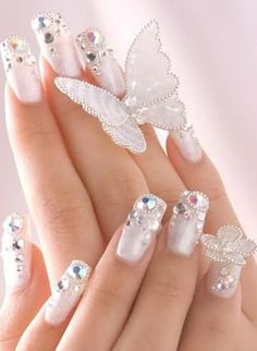 Bridal Nail Art Designs 2013 the most fascinating and beautiful bridal nails.We choose a few from the wide range ideas to complete your look for the most important day of your life. Nail Design Rosa, Gem Nail Designs, Elegant Nail Designs, Elegant Nails, Pretty Designs, Classy Nails, Floral Designs, 3d Nail Art, Cool Nail Art