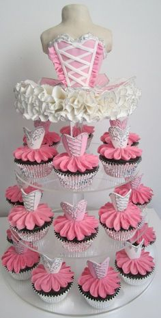 Ballerina Cupcake tower. For dance :)
