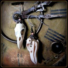 Raven Bird Skull Earrings ~ Like real skull but carved of strong antler ~ Silver Copper ~ Taxidermy Cabinet of Curiosities