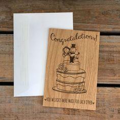 Wedding Card, Wood Card, Wedding Congratulations Card- Made for Eachother, Weirdos, Anniversary Card, Congratulations Card, Funny Cute Card